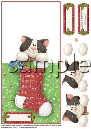 OVER THE EDGE CARD CHRISTMAS STOCKING KITTY  printed sheet 293