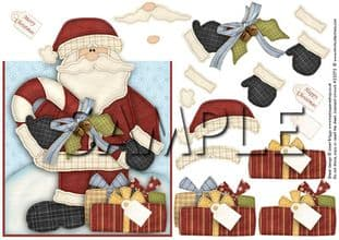 OVER THE EDGE CARD SANTA AND CANDY CANE printed sheet TTS285p