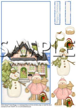OVER THE EDGE CARD WINTER WONDERLAND SCENE  printed sheet 286