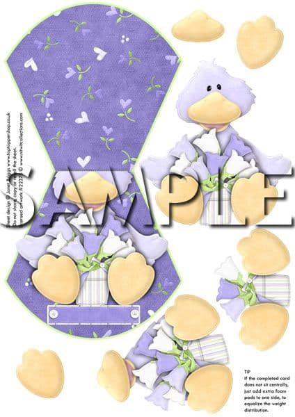 Over The Edge Wobble Card Lilac Ducky Printed Sheet
