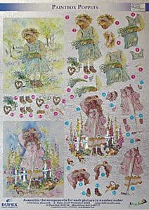 PAINTBOX POPPETS DUFEX DIE CUT DECOUPAGE SHEET 248714