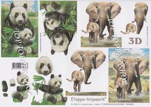Panda & Elephant Decoupage Sheet  Requires Cutting 4169.64