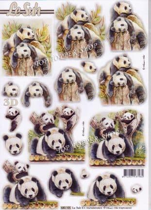 Pandas A4 Die Cut Decoupage Sheet Le Suh 680.105