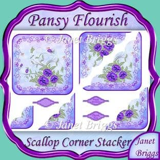 PANSY FLOURISH Scallop Corner Stacker printed sheet