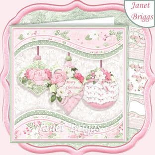 PASTEL CHRISTMAS BAUBLES 7.5 Decoupage Card Kit digital download