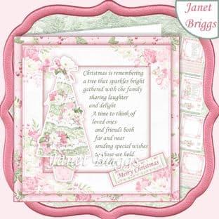 PASTEL CHRISTMAS TREE & VERSE 7.5 Decoupage Card Kit digital download