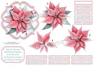 Pastel Poinsettia Christmas  Card Topper & Decoupage printed sheet TTSJB15