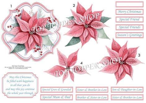 Pastel Poinsettia Christmas  Card Topper & Decoupage printed sheet TTSJB15