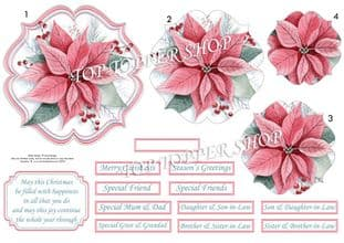 Pastel Poinsettia Christmas  Card Topper & Pyramage printed sheet TTSJB16