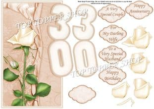 Pearl Wedding Anniversary Or 30th Birthday Over The Side Printed Sheet 452jw
