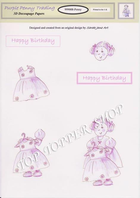 PENNY 8 Decoupage Sheet Purple Penny Trading