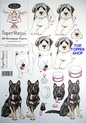 PETS GERMAN SHEPHERD, TERRIER & SHEEPDOG PAPER NATION A4 SBS DECOUPAGE SHEET