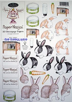 PETS RABBITS PAPER NATION A4 SBS DECOUPAGE SHEET