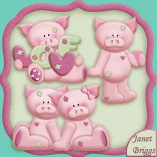Pig In Love Clipart Printed Sheet