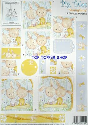 PIG TALES SWINGTIME - DESIGN HOUSE TWISTED PYRAMID DECOUPAGE SHEET