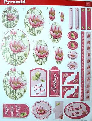 PINK FLORAL 44 DIE CUT PYRAMID DECOUPAGE STUDIO LIGHT