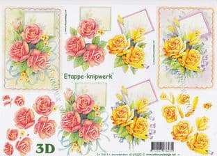 Pink & Lemon Roses Le Suh Decoupage Sheet  Requires Cutting 4169.220
