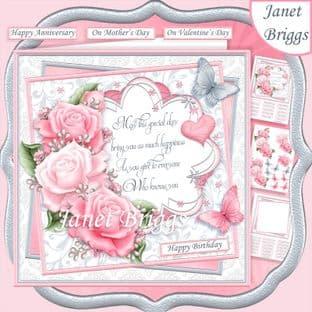 PINK ROSES & VERSE 7.5 Decoupage  Card Kit digital download