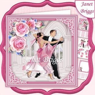 PINK STRICTLY COME DANCING 7.5 Decoupage Card Kit digital download