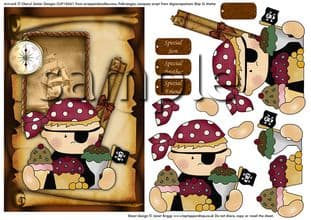 Pirate Birthday Boy Decoupage  Printed Sheet