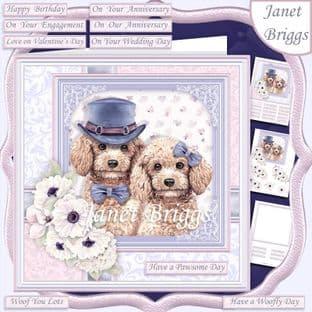 POODLES COUPLE 7.5 Decoupage  Card Kit digital download