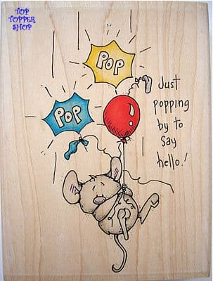 POPPING BY MOUSE - WHIPPER SNAPPER RUBBER STAMP
