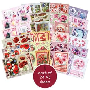 Precious Poppies Hunkydory 24 A5 Decoupage Sheets Require Cutting