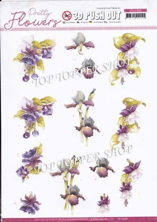 Pretty Flowers Purple A4 Die Cut Decoupage Sheet Jeanine's Art Push Out SB10498