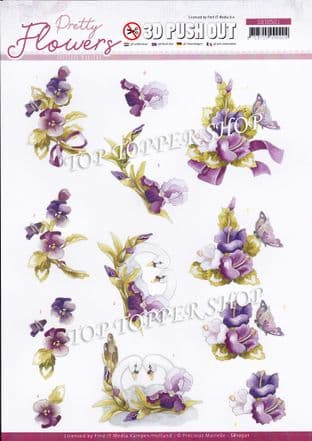 Pretty Flowers & Swan A4 Die Cut Decoupage Sheet Jeanine's Art Push Out SB10501