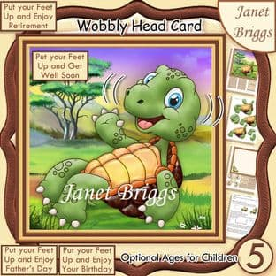 PUT YOUR FEET UP TORTOISE WOBBLY HEAD Card Kit digital download