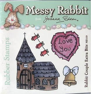 RABBIT COUPLE EXTRA BITS - MESSY RABBIT RUBBER STAMPS JOANNA SHEEN