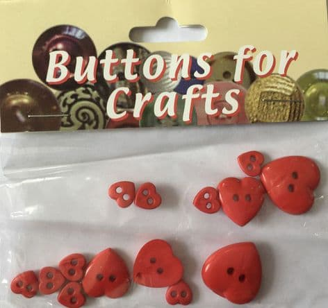 RED HEART BUTTONS FLATBACK BUTTONS FOR CRAFTS