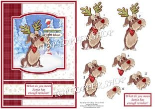 Reindeer Training A5 Christmas  Card Topper & Decoupage printed sheet TTSJB17