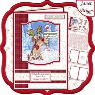 REINDEER TRAINING A5 Humorous Christmas Decoupage Card Kit digital download