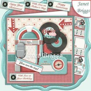 RETRO MUSIC 7.5 Decoupage Card Kit digital download
