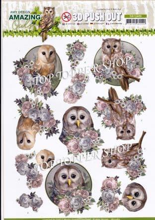 Romantic Owls Die Cut Decoupage Sheet Yvonne Creations Push Out SB10489