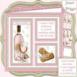ROSE WINE SAVE THE DAY or CRAFTY CORKS 7.5 Humorous Decoupage Card Kit digital download