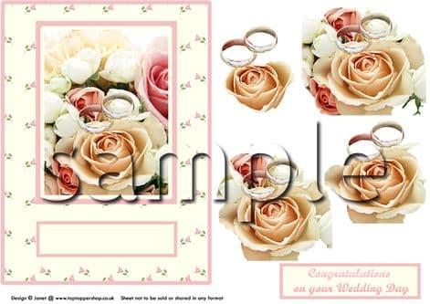 ROSES & RINGS DECOUPAGE  sheet