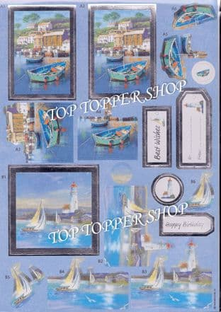 Sail Away Anita's Foiled Die Cut Decoupage Sheet 169922