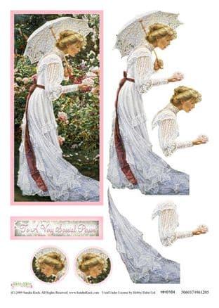 SANDRA KUCK LARGE DECOUPAGE SHEET HH0104 LADY WITH ROSES