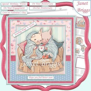 SENDING HOGS N KISSES 7.5 Decoupage  Card Kit digital download