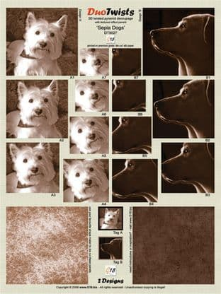 SEPIA DOGS - DIE CUT DUO TWISTS FROM G18