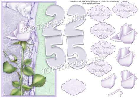 Silver Wedding Anniversary Or Birthday Over The Side Printed Sheet 425jw