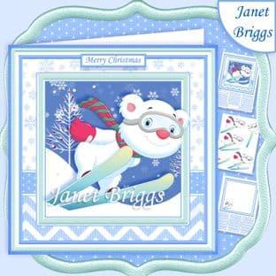 SKIING BEAR 7.5 Christmas Decoupage Card Kit digital download