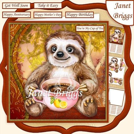 SLOTH MY CUP OF TEA 7.5 Decoupage  Card Kit digital download