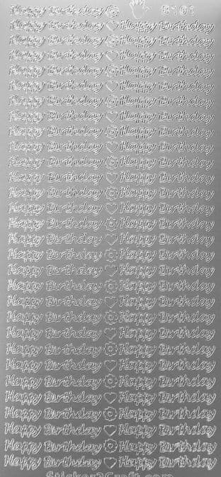 Small Happy Birthday Silver Peel Off Stickers Doodey B101