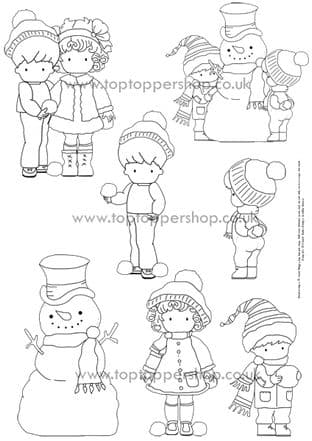 Snowball Kids Exclusive Digi Stamps Printed Sheet