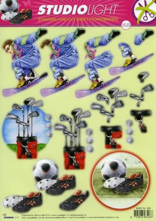 SNOWBOARD, GOLF, FOOTBALL DIE CUT  DECOUPAGE STUDIO LIGHT 168
