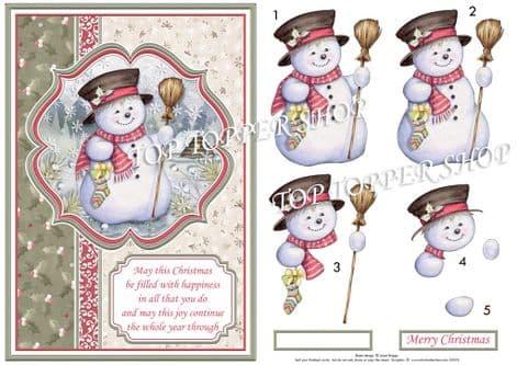 Snowman in Moonlight A5 Decoupage printed sheet TTSJB13