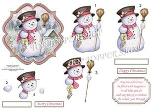Snowman in Moonlight Card Topper & Decoupage printed sheet TTSJB14